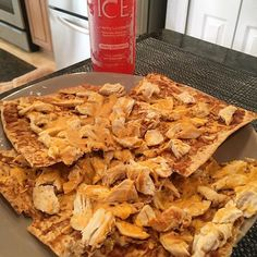 Protein chicken bbq cheese pizza for lunch? Yes please  - 1 Joseph's Lavish Whole Grain Flat Bread - 4.5 oz. 99% lean chicken breast - 2 servings of fat free cheese - 1 serving of @ghughessugarfree bbq sauce Enjoying this meal with my favorite sparkling water @sparklingice  Macros : 344CALS/58P/22C/4F  0g sugar! #iifym #iifymfam #iifymrecipes #flexibledieting #healthychoices #balance #foodie #lunch #fit #fitness #fitfam #lowcarb