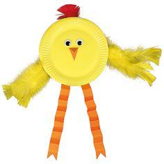 Pahvilautanen, keltainen askartelumaali, oranssi kartonki, silmät ja höyheniä niistä syntyy tipu.