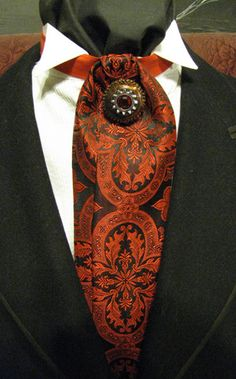 Steampunk Red and Black  Brocade Ascot with Pin by gravelymaccabre, $25.00