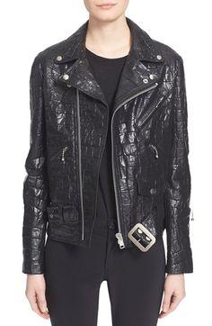 Junya Watanabe Croc Embossed Faux Leather Moto Jacket