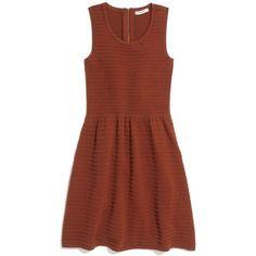 MADEWELL Threadlines Dress (270 BRL) ❤ liked on Polyvore featuring dresses, vestidos, full skirt, brown dress, textured dress, stripe dresses and brown striped dress