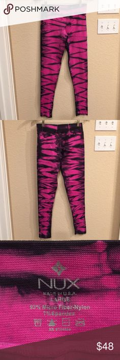 Mix Long Leggings Gently used Nux long Leggings. Soft breathable material. Cleaning out my workout clothes and bringing you some great deals for the New Year. No trades please. NUX Pants Leggings