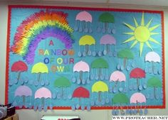 april bulletin boards   April Showers: A Rainbow of Our Own Bulletin Board