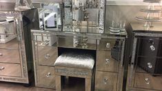 Diamond Glitz Dressing Table Bundle - Get this stunning Diamond Glitz Bundle and save on top of the already reduced prices of the individual items in this bundl# Bundle Mirrored Bedroom Furniture, Glass Furniture, Home Decor Furniture, Luxury Furniture, Mirrored Table, Diy Bedroom Decor, Living Room Decor, Bedroom Ideas, Glamour Decor