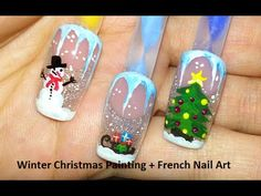 Winter Christmas Painting + French Nail Art - YouTube