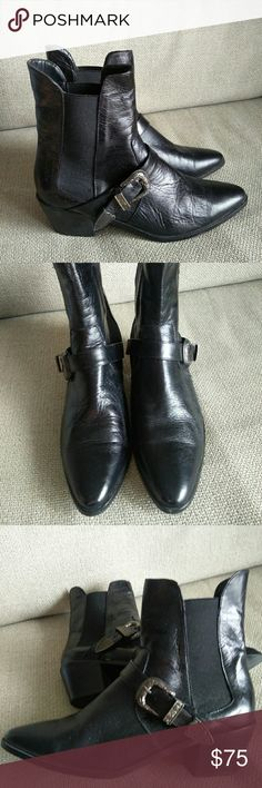 Zara black leather cowboy boots Zara black leather cowboy boots. Used twice or so. Size US 8/EU39 Zara Shoes Ankle Boots & Booties