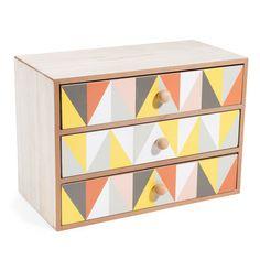 Boîte 3 tiroirs en bois ARLEQUIN VINTAGE | Maisons du Monde