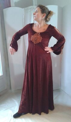 1960s  1970s Russet Red Dress with lace bust & by RPArtandVintage