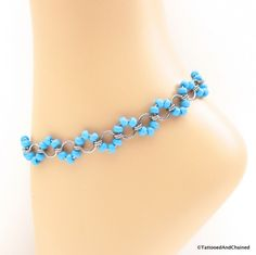 Turquoise blue beaded chainmaille anklet, stainless steel