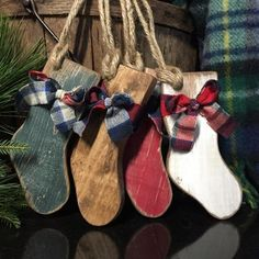 Items similar to Wood Christmas Stocking Ornaments Cabin Christmas Cabin Decor Plaid Bow Country Christmas Rustic Stocking Painted on Etsy Wooden Christmas Decorations, Christmas Wood Crafts, Homemade Christmas, Holiday Crafts, Christmas Holidays, Winter Wood Crafts, Rustic Christmas Ornaments, Handprints Christmas, Cabin Christmas Decor