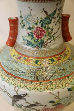 A Magnificent Famille Rose Vase with Birds and Flowers, Guangxu Mark and Period, H 52cm