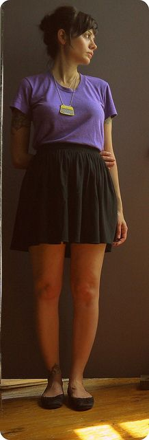 t-shirt & skirt/american apparel ^links to my post on am.app. shoes/sweatshop retail necklace/craftyfolk {etsy}