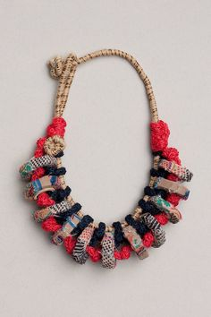 Fiber art chunky necklace in blue red and beige by rRradionica