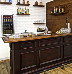 57 Fabulous Home Bar Designs You'll Go Crazy For. Decorating your ideal home bar design. Consider yourself lucky if you've got your own home bar – it's a perfect social gathering spot that's. Diy Home Bar, Home Bar Decor, Diy Bar, Bars For Home, Cave Man, Man Cave Home Bar, Man Caves, Basement Bar Designs, Home Bar Designs