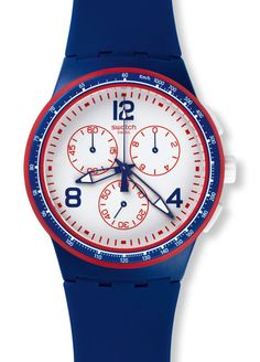 In advance of the Roland Garros French Open tennis tournament which will start about a month from now, two special Swatch watches have been unveiled. Fine Watches, Cool Watches, Watches For Men, Unique Watches, French Open, Iwc, Fashion Watches, Chronograph, Blue