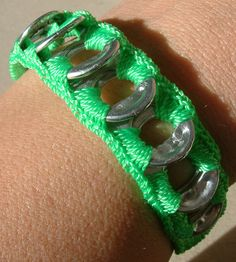 ReCycladelic Pop Top Bracelet Electric Neon Green Soda Can Pop Tab Tie-On Bracelet