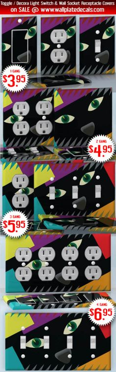 DIY Do It Yourself Home Decor - Easy to apply wall plate wraps | Abstract Black Cat  Black cat face peeking  wallplate skin stickers for single, double, triple and quadruple Toggle and Decora Light Switches, Wall Socket Duplex Receptacles, and blank decals without inside cuts for special outlets | On SALE now only $3.95 - $6.95