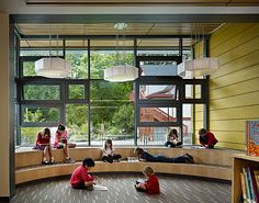 Epiphany School : By Miller Hull Partnership ~ HouseVariety Bookstore Design, Library Design, Daycare Design, School Design, New Classroom, Outdoor Classroom, 21st Century Schools, Kindergarten Projects, Kids Library