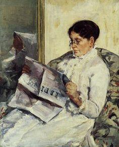 """Reading, Le Figaro"", (Portrait of Mary Cassatt's mother) Gilded Age American Impressionist Artist, and printmaker: Mary Cassatt, ~~ {cwl} ~~ (Image: Smithsonian American Art Museum) Reading Art, Woman Reading, Reading Room, Edgar Degas, Mary Cassatt Art, People Reading, Berthe Morisot, American Impressionism, Post Impressionism"