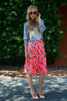 neon floral skirt.