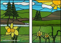 Leaded Glass Daffodils Country landscape good one for old frame