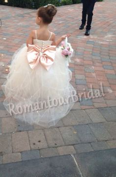 Ivory Spaghetti Straps with Bow TulleFlower by RomantourBridal, $86.99
