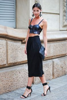 black bustier top and skirt