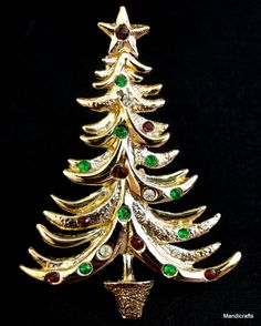 Brooch signed Tancer II Christmas Tree Figural Pin Gold Tone Rhinestones Vintage