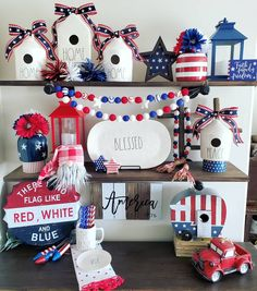 4th Of July Decorations, Tray Decor, Fourth Of July, Projects To Try, Shelves, Holiday Decor, Party, Red, Inspiration