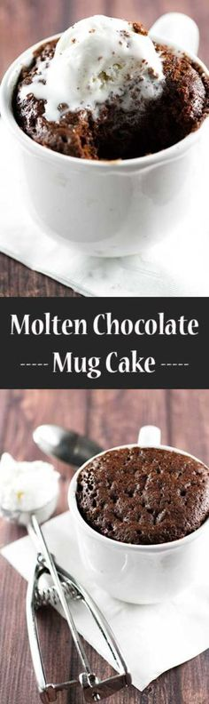 Easy Snacks You Can Make In Minutes - Molten Chocolate Mug Cake - Quick Recipes and Tricks for Making After Workout and After School Snack - Fast Ideas for Instant Small Meals and Treats - No Bake, Microwave and Simple Prep Makes Snacking Fun Easy Desserts, Delicious Desserts, Dessert Recipes, Yummy Food, Quick Dessert, 5 Minute Desserts, Apple Desserts, Molten Chocolate, Chocolate Mug Cakes