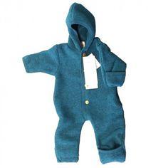 Engel Baby Overall mit Kapuze, petrol melange, Gr. 86/92