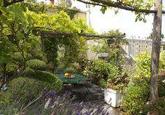 Amenager un jardin sur un toit d'immeuble à Saint Germain des Près - Elle Déco