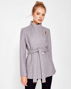 Short wrap cashmere-blend coat - Light Gray | Jackets And Coats | Ted Baker