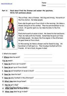 Fred the Fireman - Reading Comprehension worksheet - Free ESL printable worksheets made by teachers