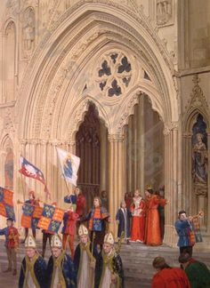 Investiture in York. King Richard III, Queen Anne and their son, Edward, emerge from the gothic grandeur of York Minster on the occasion of Edward's investiture as Prince of Wales, 8th September 1483.