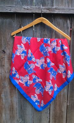 Vintage Scarf Maple leaf pattern red voilet and pale pink. by JessFindsVintage, $15.99