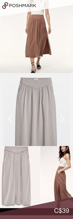 Brand new aritzia gabrielle skirt Brand new! Tag still on. Gray Color, Colour, Midi Skirt, Brand New, Product Description, Skirts, Closet, Things To Sell, Style