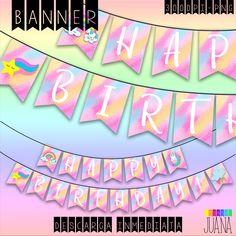 Set Cumpleaños Unicornio -Banderín Unicornio Kit Party- Descarga Instantánea-Set Imprimible