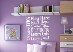 Vinyl wall decal quote Play Hard Learn Lots Dream Big Live Happy by BearHouseVinyl on Etsy https://www.etsy.com/listing/459242882/vinyl-wall-decal-quote-play-hard-learn