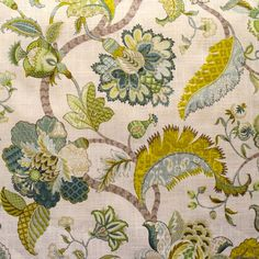 Elegant blue, green, and yellow floral pattern. Fabric is 100% cotton and soil/stain resistant.