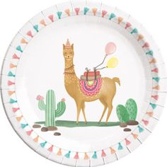 P { margin-bottom: } These 8 paper plates , printed with a cute Lama , may not be missing at any trendy summer party . Party Napkins, Party Plates, Party Tableware, Dinner Plates, 10e Anniversaire, Cactus Balloon, Silver Christmas Decorations, Llama Birthday, Green Animals