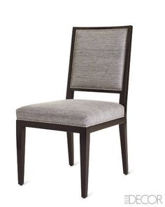 """Dining Chairs - Height: 39""""; width: 20""""; depth: 26""""; seat height: 20""""; material: alder wood in tobacco finish with Dacron-wrapped-foam fill (custom sizes and finishes available); delivery: 10–12 weeks; price: $1,760 c.o.m.; arudin.com."""