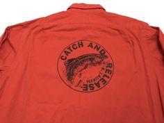 Vintage Polo Ralph Lauren XL Catch and Release Shirt 1992 Sportsman Fish Orange #PoloRalphLauren #ButtonFront