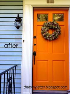 Orange Door With Pale Blue Or Pale Gray Siding Love It