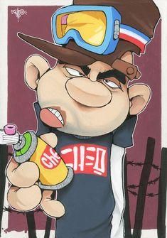 Graffiti Doodles, Graffiti Cartoons, Cartoon Characters, Fictional Characters, Vinyl Toys, Sign Printing, Paint Markers, Painted Signs, Street Art