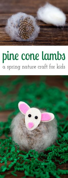 Pine Cone Lambs are a creative, easy, and fun spring nature craft for kids. Made with pine cones, wool, and kid-friendly craft supplies! via @https://www.pinterest.com/fireflymudpie/