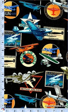 Fabric ~ vintage airlines airplanes