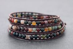 Leather Wrap Bracelets Fancy Jasper Brown Beaded Tri Wrap