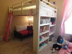 loft bed with playarea on top Queen Loft Bed Do It Yourself Home Projects from Ana White Big Girl Rooms, Boy Room, Kids Room, Do It Yourself Furniture, Do It Yourself Home, Queen Loft Beds, Loft Bed Plans, Build A Loft Bed, Ideas Habitaciones