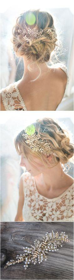 Gold, Antique Gold, Silver, Rose Gold Boho Headpiece, Opal Flower Hair Crown, Hair Vine Wreath, Wedding Headband - 'ZOYA'